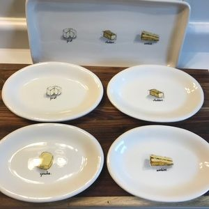 Rae Dunn 6 Piece Ceramic Cheese Plate/Tray Set